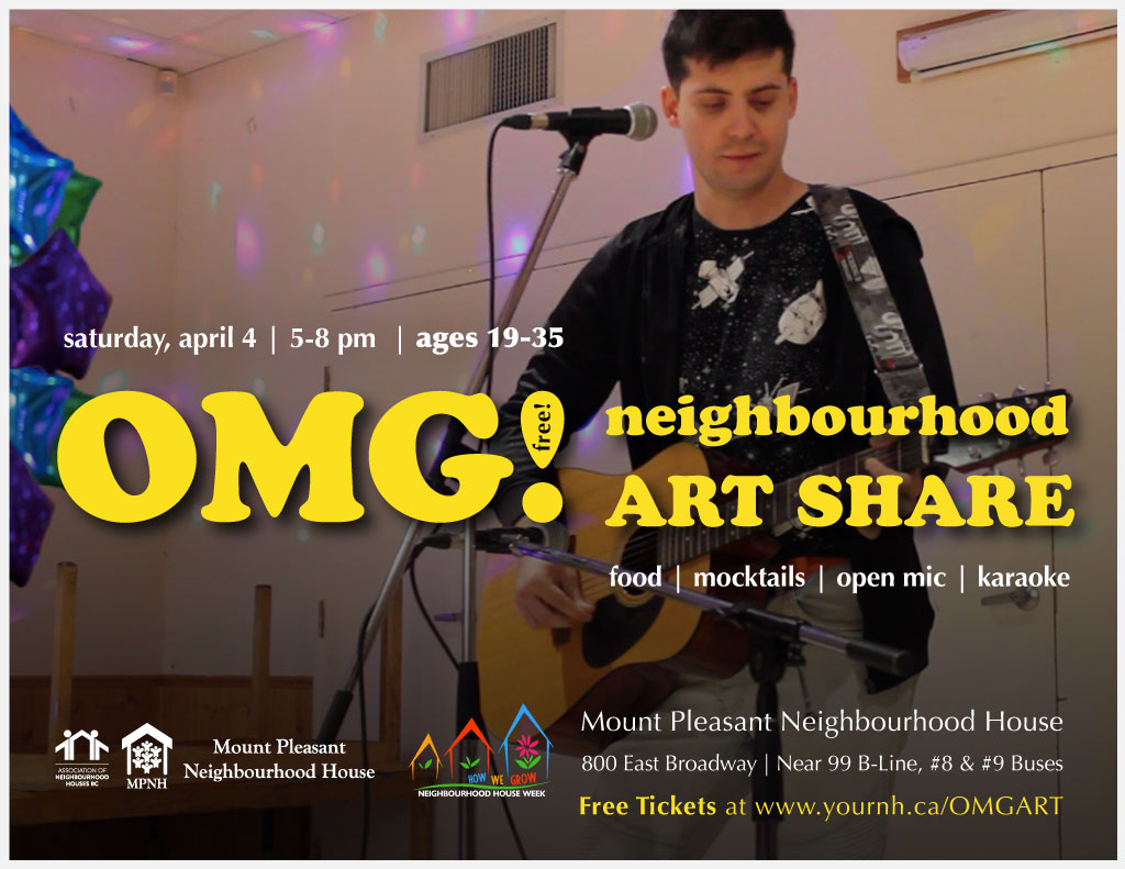 An image of the OMG! Neighbourhood Art Share poster with event details, featuring an image of a young adult playing guitar and singing